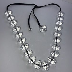 Jewelry - Unique Chunky Black Ribbon and Crystal Necklace
